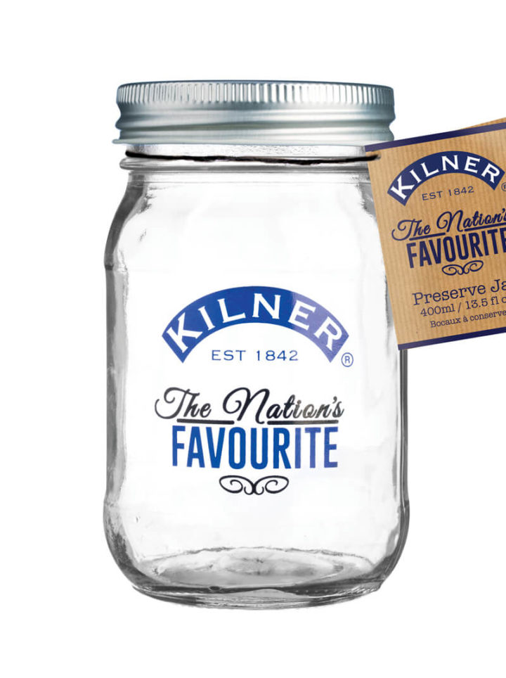 Kilner Jar Nations Favourite 400ml, blauer Aufdruck mit Papier-Etiquette 400ml